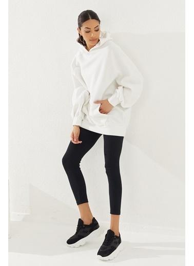 Reyon REYON Kadın Kapüşonlu Oversize Cepli Sweatshirt Beyaz Beyaz